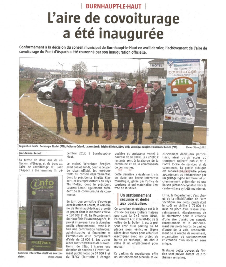 L'aire de covoiturage a été inaugurée - L'Alsace - 06-02-2018